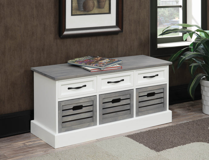 Coaster Weathered Grey and White Storage Bench