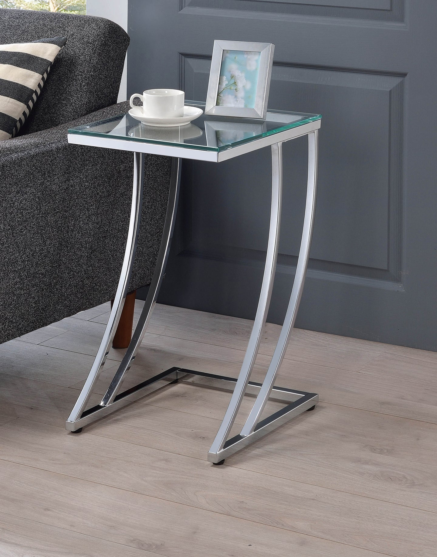 Coaster Chrome Glass Top Snack Table