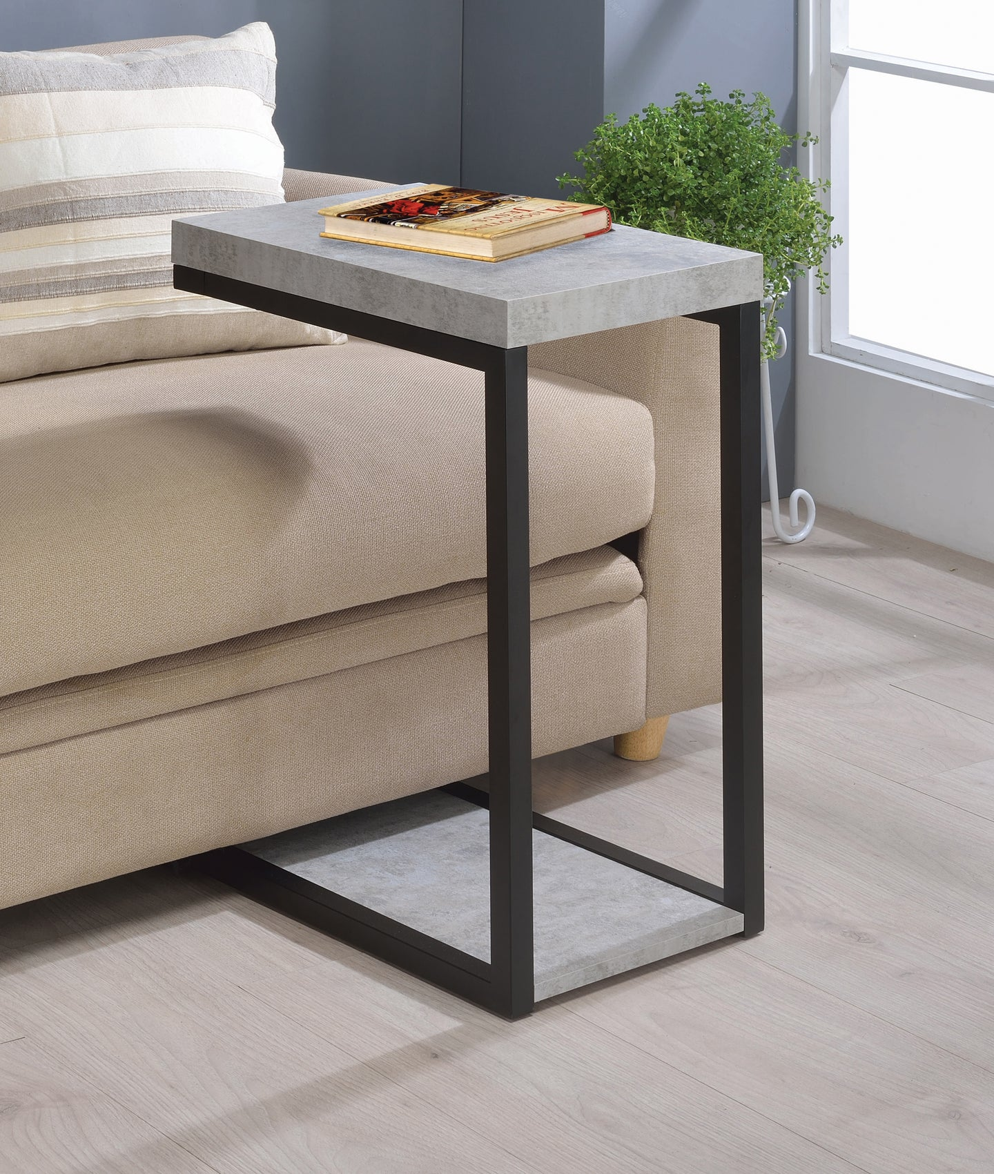 Coaster Contemporary Style Cement Black Snack Table