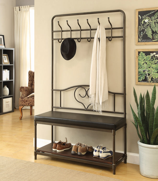 Coaster Black Color Hall Tree With Shelf For Additional Storage