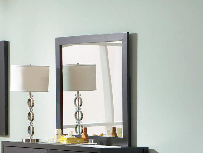 Grove Collection Black Finish Mirror