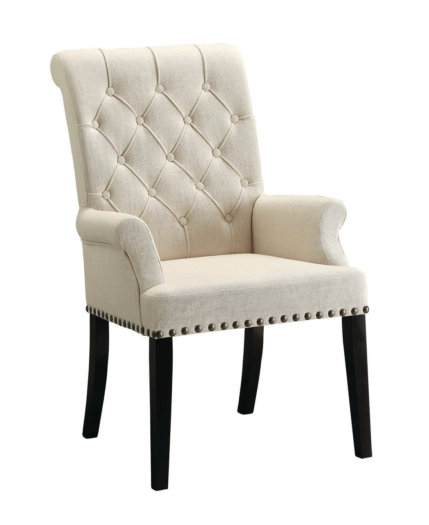 Homy Living Parkins Cream Fabric And Wood Finish Dining Arm Chair