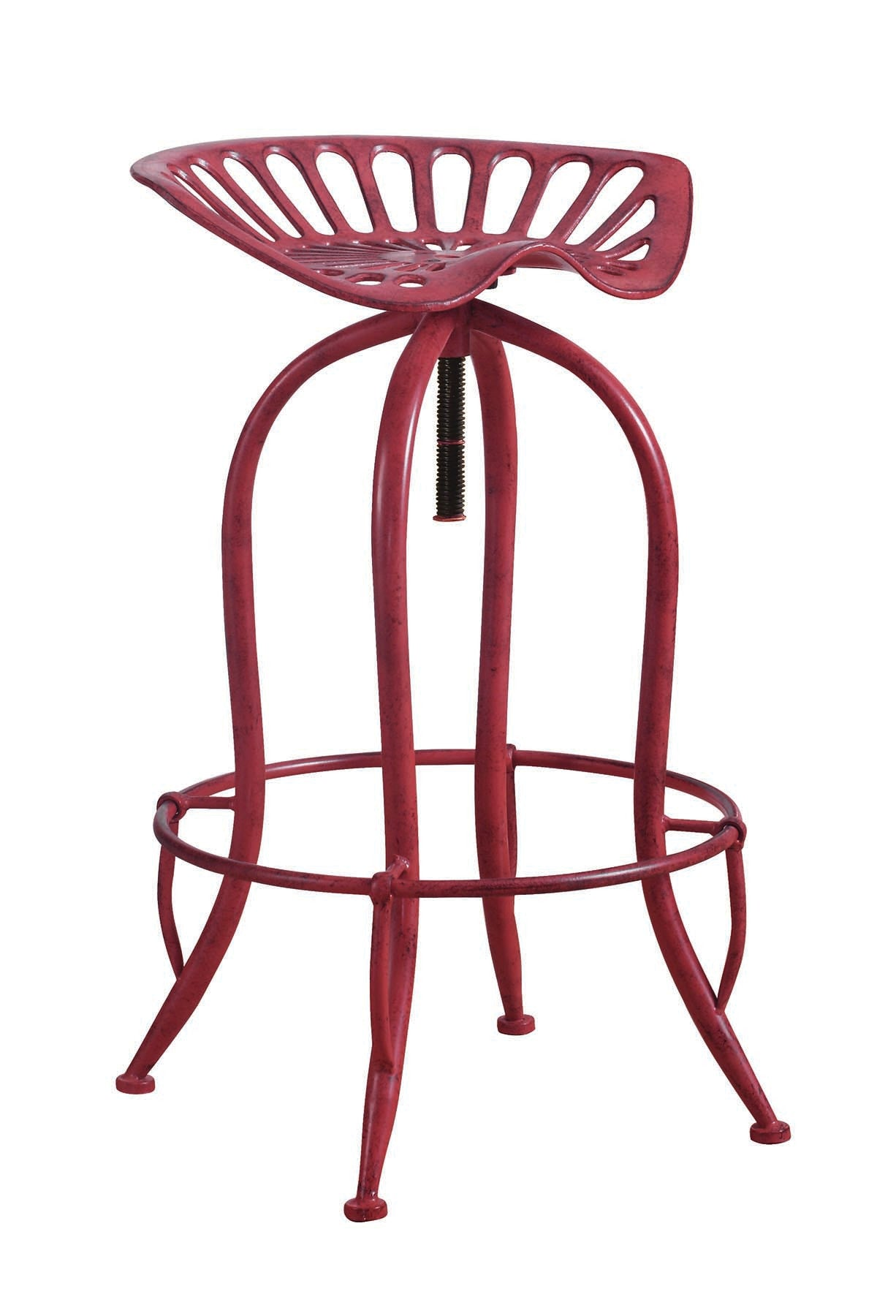 Coaster Antique Red Finish Adjustable Bar Stool