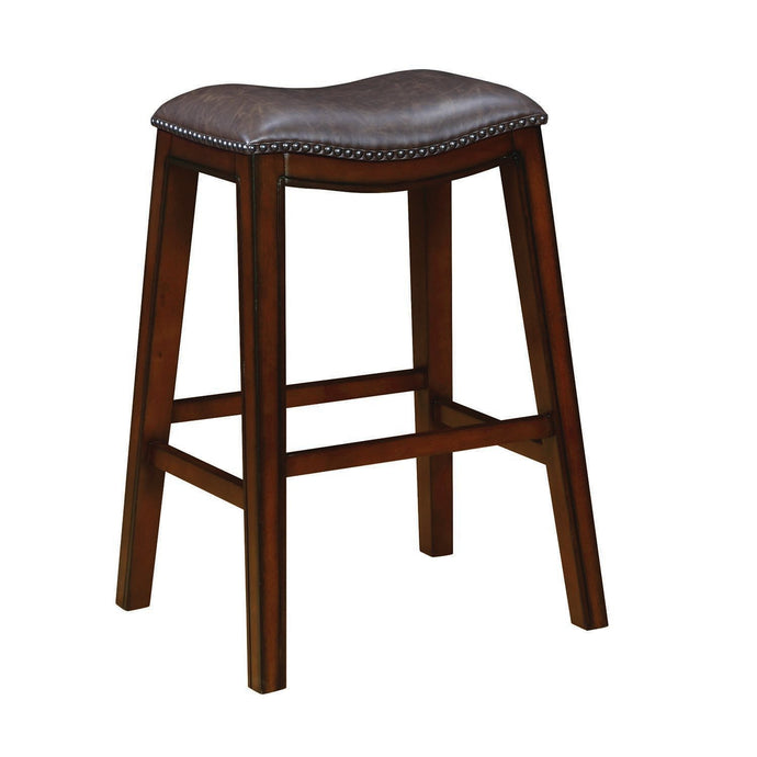 Two Tone Brown Leatherette Upholstery Bar Stool