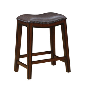 Two Tone Brown Leatherette Upholstery Counter Height Stool Set of 2
