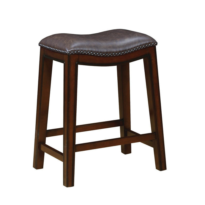 Two Tone Brown Leatherette Upholstery Counter Height Stool