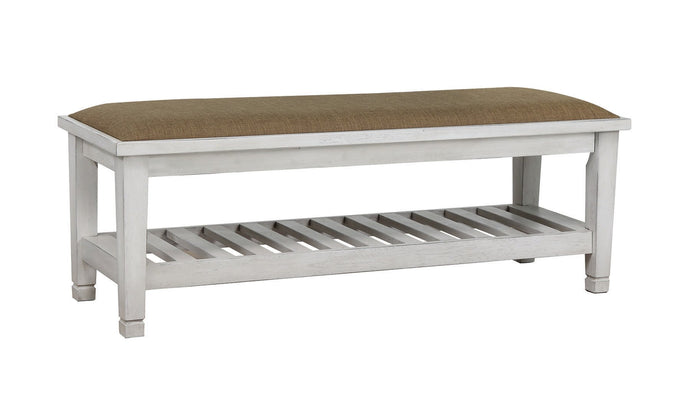 Liza Collection Antique White Bench
