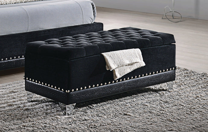 Coaster Barzini Collection Black Velvet Trunk