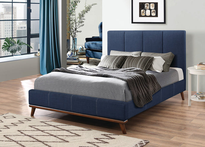 Charity Upholstered Blue Woven Fabric Full Bed