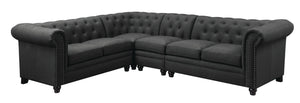 Coaster Roy Grey Linen-Like Fabric Finish Sectional Sofa