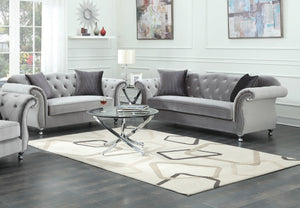 Coaster Frostine Silver Velvet Sofa and Loveseat