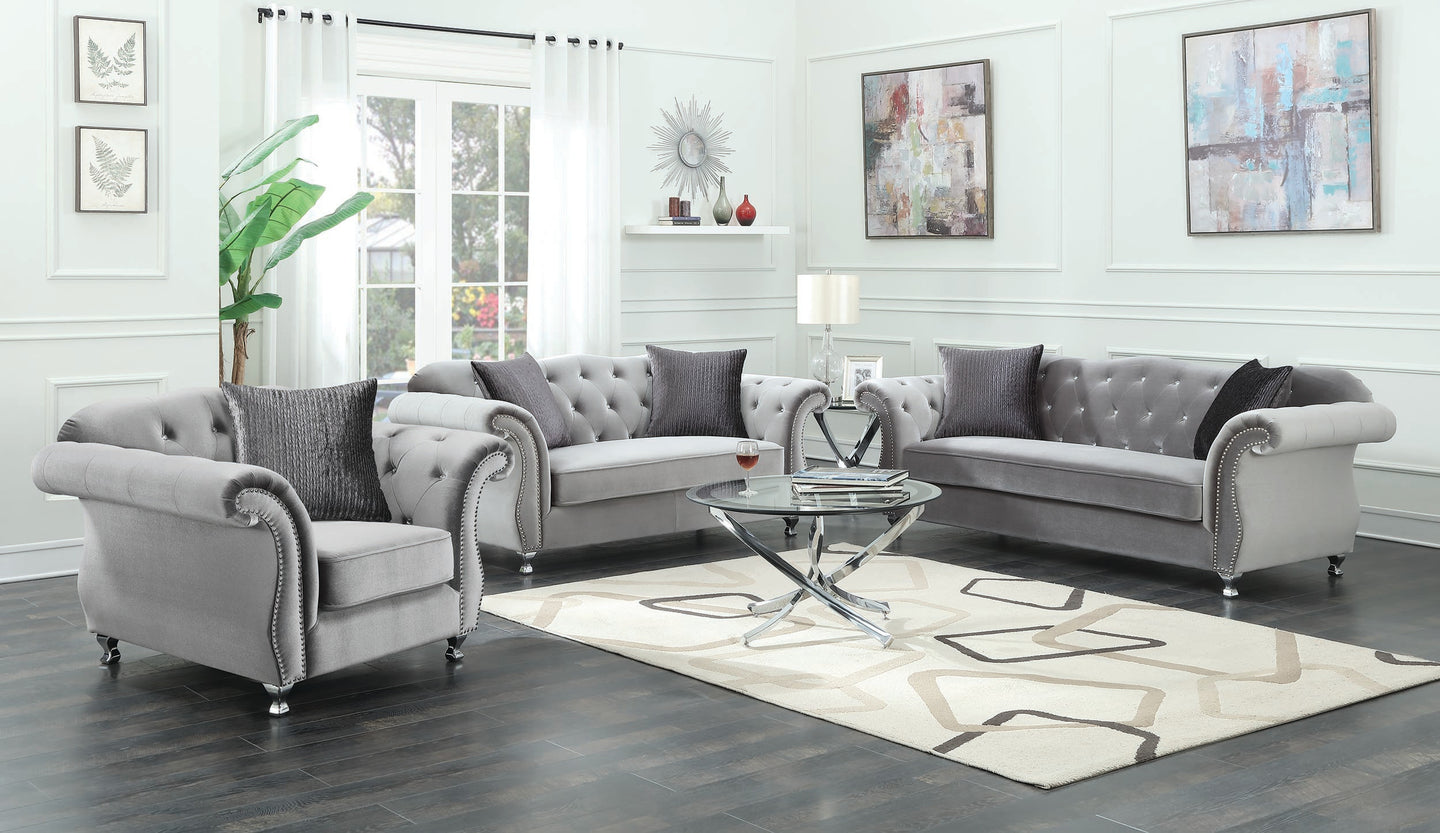 Coaster Frostine Silver Velvet And Wood Finish 3 Piece Sofa Set