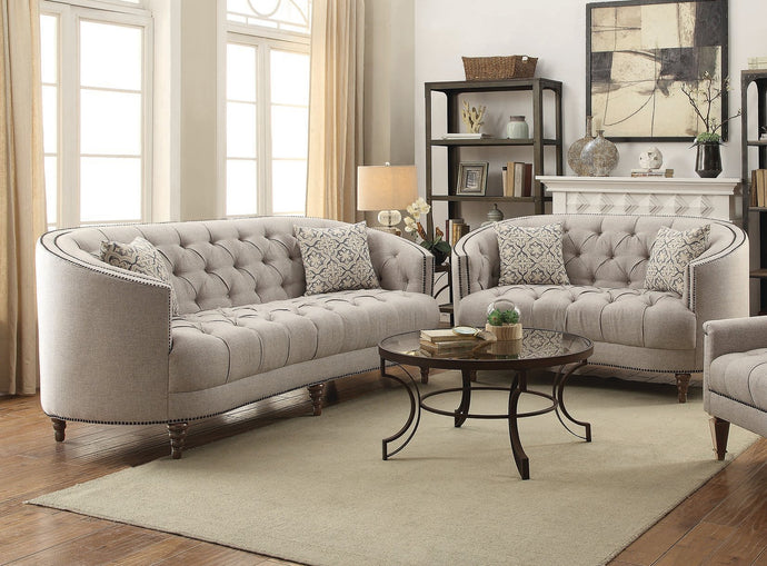 Avonlea Collection Stone Grey Sofa and Loveseat