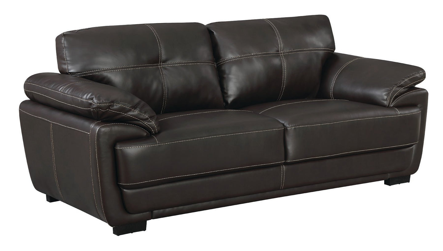 Zenon Brown Bonded Leather Finish Contemporary Sofa