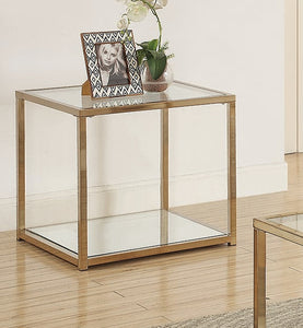 Coaster Calantha Chocolate Chrome Glass Top End Table