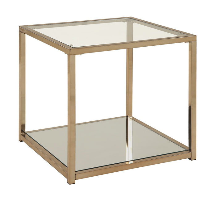 Calantha Chocolate Chrome Glass Top End Table