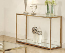 Load image into Gallery viewer, Coaster Calantha Chocolate Chrome Glass Top Sofa Table