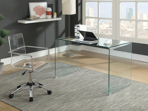 Coaster Caraway Clear Tempered Glass Top Writing Desk and Chair