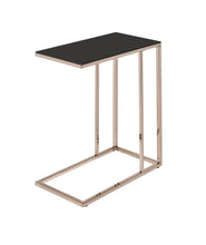 Load image into Gallery viewer, Coaster Black Glass Chocolate Chrome Finish Accent Table
