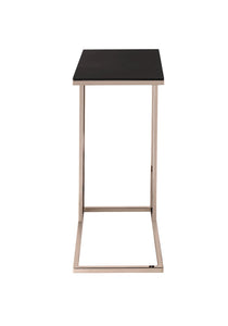 Coaster Black Glass Chocolate Chrome Finish Accent Table