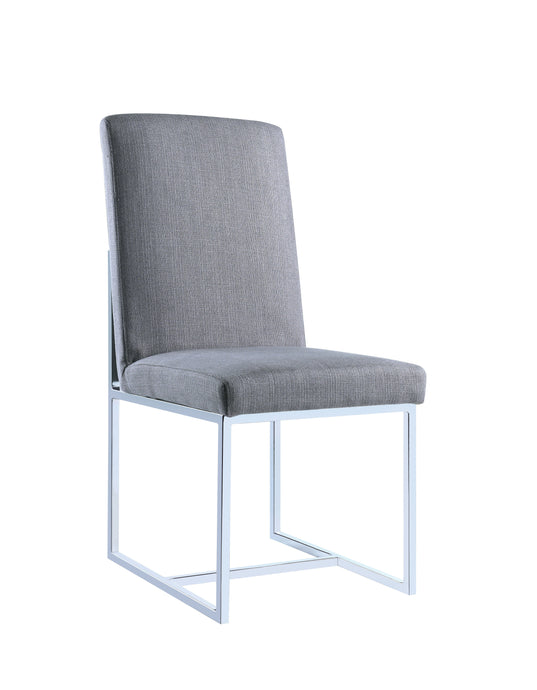 Homy Living Jackson Gray Fabric And Chrome Finish 2 Piece Dining Chair