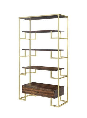 Coaster Home Accents Modern Etagere with Brass Frame