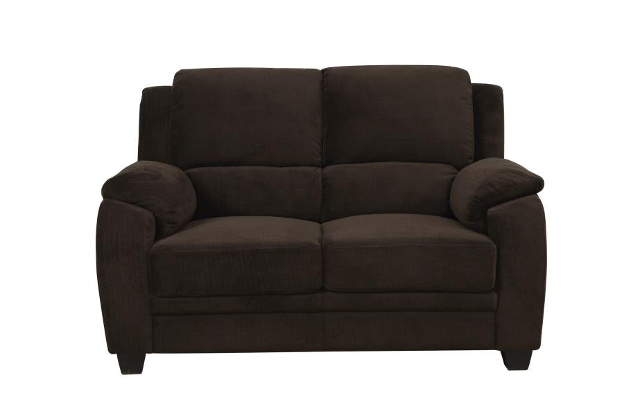 Coaster Chocolate Fabric Color Loveseat