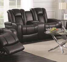 Load image into Gallery viewer, Coaster Delangelo Black Leatherette Finish Power Motion Loveseat