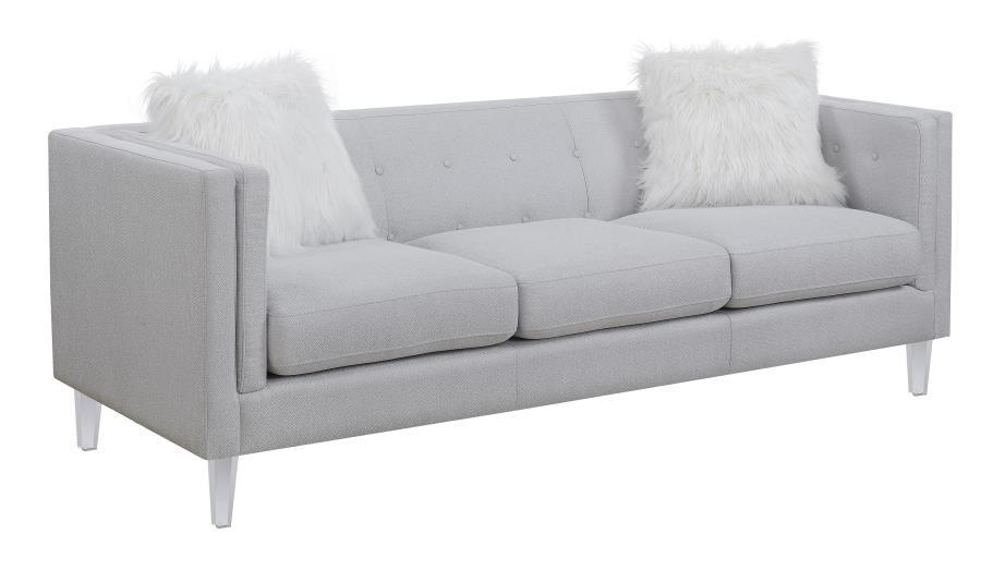 Homy Living Light Grey Fabric Finish Sofa Couch