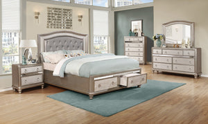 Coaster Bling Game Metallic Platinum 4 Piece Queen Bedroom Set