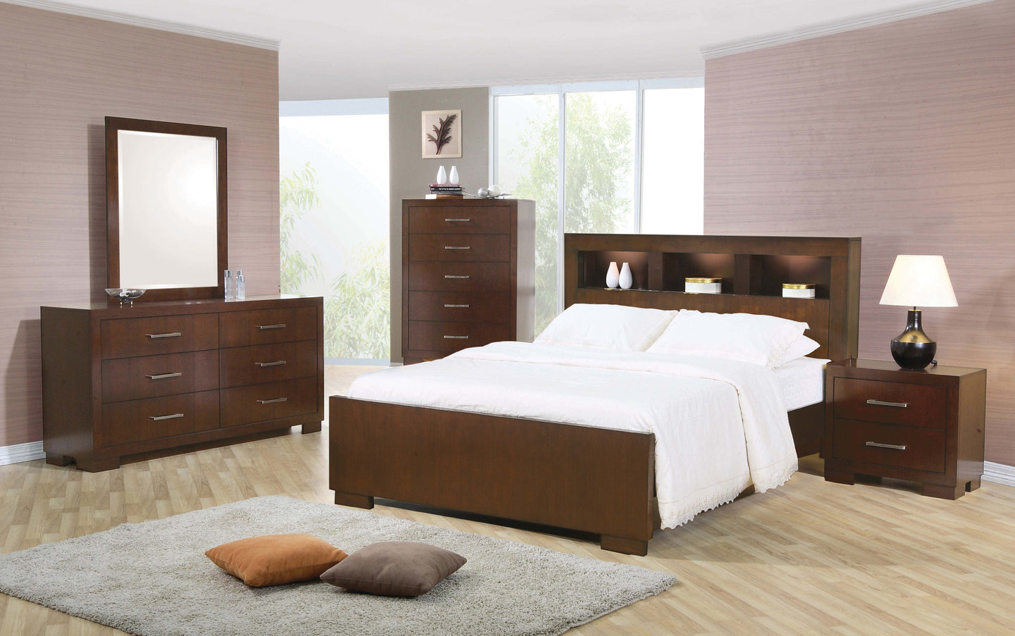 Coaster Jessica Cappuccino Wood Finish 4 Piece California King Bedroom Set