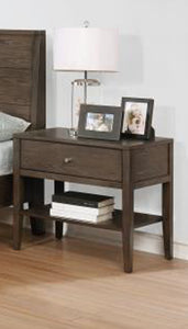 Coaster Lompoc Ash Brown Brushed Nickel Nightstand