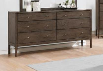 Lompoc Ash Brown Brushed Nicl Dresser