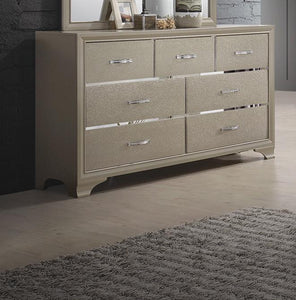 Homy Living Beaumont Champagne Gold Leatherette Dresser