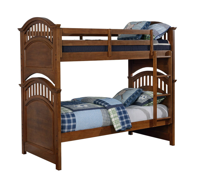 Halsted Walnut Wood Twin Twin Bunk Bed