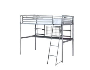 Boltzero Silver Metal Black Wood Twin Workstation Loft Bed