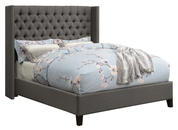 Coaster Benicia Grey Woven Fabric Black Leg Full Bed