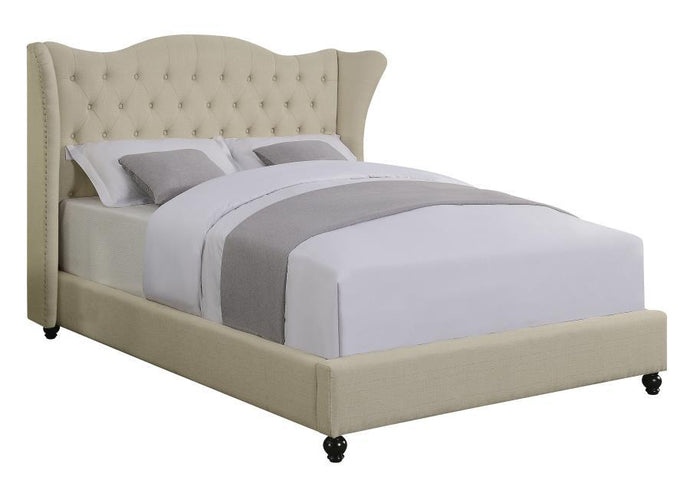 Homy Living Coronado Beige Fabric And Wood Finish Full Bed