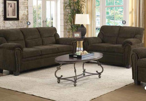 Clemintine Brown Chenille Sofa Loveseat Set