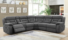 Load image into Gallery viewer, Coaster Camargue Motion Grey Coated Microfiber Sectional Sofa