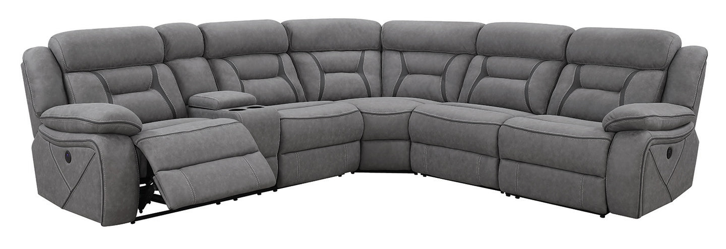 Coaster Camargue Motion Grey Coated Microfiber Sectional Sofa
