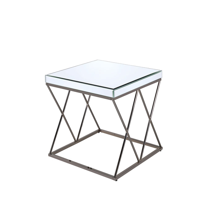 Coaster Black Nickel Mirrored Tabletop End Table
