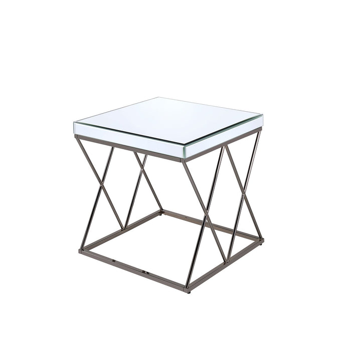 Black Nicl Mirrored Tabletop End Table