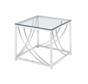 Homy Living Silver Glass Top Chrome End Table