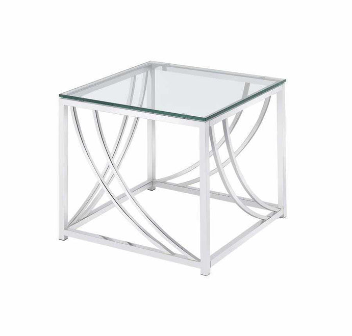 Contemporary Glass Top Chrome End Table