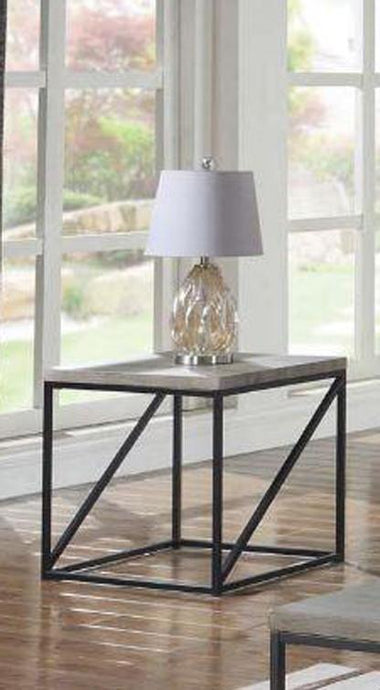 Industrial Sonoma Grey Metal Base End Table