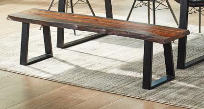 Jamestown Sheesham Grey Black Base Live Edge Dining Bench