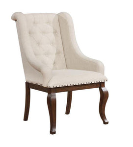 Coaster Glen Cove Cream Fabric Antique Java Leg Arm Chair Set Of 2