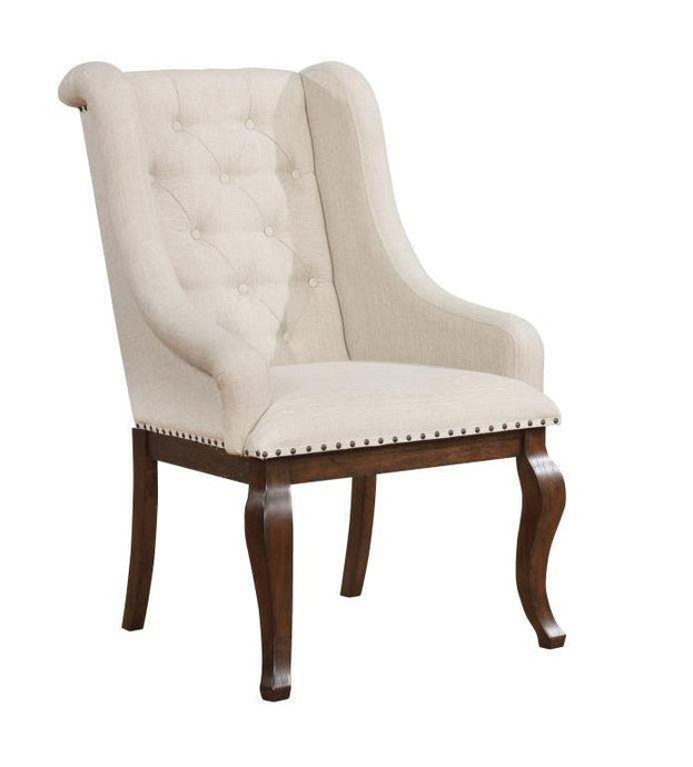 Glen Cove Cream Fabric Antique Java Leg Arm Chair