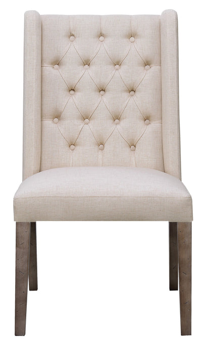 Burnham Beige Linen li Fabric Side Chair